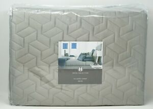 Hotel Collection Cubist Modern Geometric Quilted Coverlet - FULL / QUEEN - Gray
