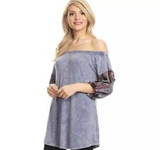 T Party Womens Top Off Shoulder Contrast Print Short Sleeve Tunic Blue Small