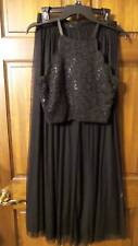 NWT ~ LILY ROSE black 2PC dress top & skirt FORMAL PROM lace sequins ~ womens M