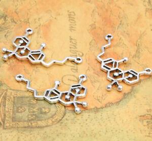 20pcs THC Molecule Charms Antique Silver THC Molecule charm Pendants 34x21mm