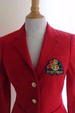 Exquisite -Ralph Lauren -Sz 2 Woven Linen Crest Nautical RED Jacket Blazer MINT