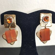 NEW J Jansen Orange Swarovski Crystal CLIP ONS Earrings 24KT Gold Dangle Western