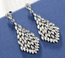 Dangle Earrings Studs H38 White Sexy Marquise Drop Crystal Rhinestone Chandelier