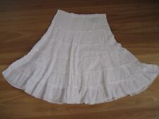 GIRL'S CUTE WHITE LINED COTTON GYPSY SKIRT BY JUST JEANS - SIZE 14 - CHEAP