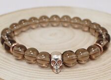 Beaded Smoky Quartz Gemstone 925 Sterling Silver Skull Men Men's Bracelet