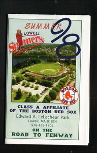 Lowell Spinners--1998 Pocket Schedule--LeLacheur Park--Red Sox Affiliate