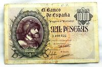 Spain-Billete. 1000 Pesetas. 1940. Madrid. Circulado. Raro y escaso