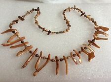 Natural she'll graduated spike stick beads brown gold color necklace 19.5""