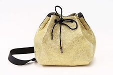 NWT $1995 Brunello Cucinelli Metallic Gold Leather Drawstring Bag W/Monili  A176