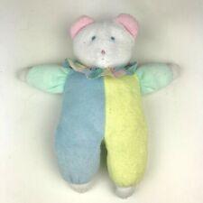 Vtg 90's EDEN Pastel CLOWN Teddy Bear LOVEY Terry Cloth Stripe Collar PLUSH