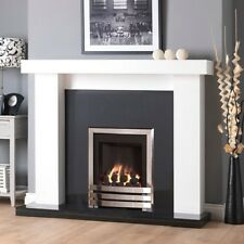 GAS WHITE SURROUND BLACK GRANITE  MARBLE CHROME FIRE FIREPLACE SUITE COALS: 48""