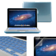 Light Blue Crystal Case for 13 Macbook Pro +  Keyboard cover + Screen Protector