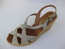 Eric Michael Womens Shoes NEW $130 Agua Beige Nubuc Sandal Jute Wedge 41 10