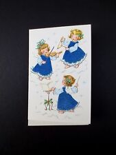 Vintage Unused Flocked & Glitter Christmas Greeting Card Angels Playing Music