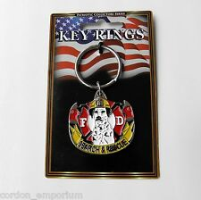 FIRE DEPT SEARCH AND RESCUE ZINC PEWTER ENAMEL KEY RING KEY CHAIN 1.5 INCHES