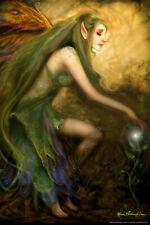 Green Magic by Renee Biertempfel Fairy Fantasy Art Poster 12x18 inch