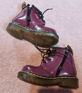 Patent Plum Infant Girls DM's Doc Martens Dr Martins Boots Airwair Size 4 1460