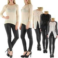 Sexy Women Clubbing Open Back Top Long Sleeve Blouse Ladies Shirt Size 6 8 10 12