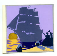 1930s French Pochoir Max Ninon Print Art Deco Seascape Sailship Leaving