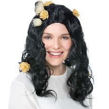 Perruque diable sorcière gothiques rockabilly crâne noir carnaval halloween fête