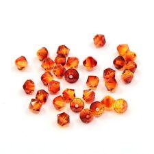 Perles Toupies 4mm  en CRISTAL AUTRICHIEN - 5301 Fire Opal - 20 pièces