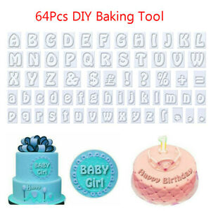 64x Cookie Cutters Alphabet Letter Mold Fondant Cake Biscuit Baking Mould Kit UK
