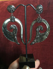 Amazing Tribal Abelone Pearl Paua Shell Angel Wing & Gunmetal Crystal Earrings