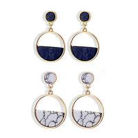 Geometric Circular Marble Long Earrings Women Handmade Vintage Fashion Ear Studs