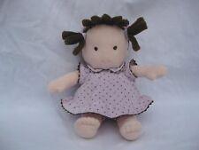 "Carters Brunette Plush Doll Purple Polka Dot Dress Lovey 9"" Rattle"