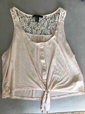 Forever 21 Pink Crop Top Blouse With Front Tie Lace Detail Size Medium