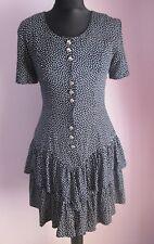 VTG Ladies TROPIQUE Navy/White Polka Dot Short Rara Dress Size 8