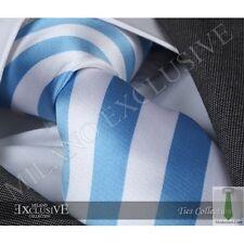 BLUE & WHITE STRIPED SILK TIE - ITALIAN DESIGNER Milano Exclusive