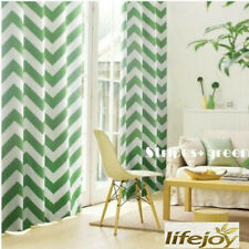 Moroccan Nordic Blockout Curtains Stripe Zigzag Curtain Green White 240cm (W)