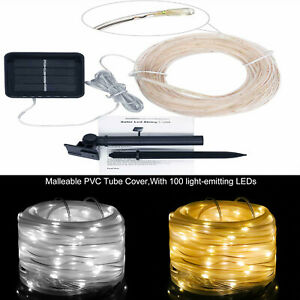 32FT 100 LED Solar Rope Tube Lights Waterproof String Light Outdoor Garden Lamp