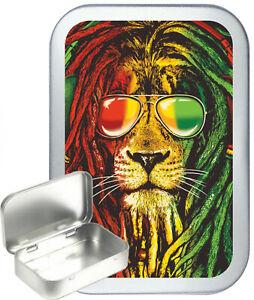 Reggae Lion 50ml / 1oz Silver Hinged Tobacco Tin,Baccy Tin, Gift Box, Pill Tin