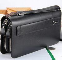 Business Men's Leather Clutch Wallet Handbag Long Purse Zipper Card Holder Bag