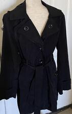 Women's Jason Cole Black Trench Coat Size L