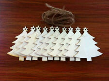 10X Wooden Tree Hanging Christmas Tree Blank Decor Halloween Xmas Gift Tag Shape