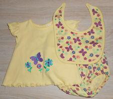 Baby Mädchen 💕 Sommer Set 💕 3tlg 💕 Shirt Hose Lätzchen 💕 SCHMETTERLING 💕NEU