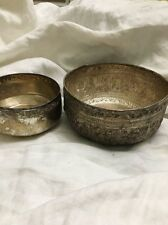 Thai repousse 925 sterling silver vintage Zodiac decor gift water rice bowl 2