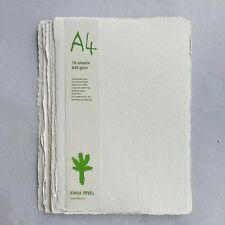 Khadi White Cotton Paper Pack 640gsm A4 10 Sheets. Artists Handmade Paper.