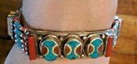 """925 Sterling Silver Turquoise Coral 37 gram  Western BOHO BOLD 7"""" Bracelet (#58)"""