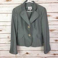 Akris Punto Womens Size 8 Gray White Cotton Jacket Blazer