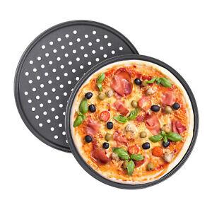 Pizzablech gelocht antihaft Rundblech Aufback Knusperblech 2er Set Pizza Tray