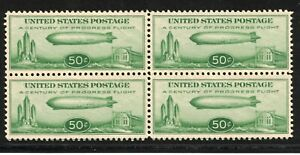 US 1932 50 Cents Zeppelin Sc#C18 Pane of 4 w/Beautiful Centering MNH