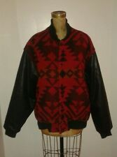 Woolrich Red Blanket Coat Aztec Baseball Style Leather Sleeves Sz Large