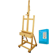 US Art Supply Extra Large Wood Studio H-Frame Artist Easel with Hand Crank