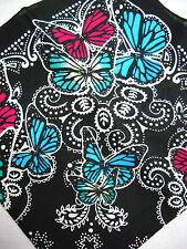 NEW BLACK & WHITE PAISLEY W/ COLORFUL BLUE & PINK BUTTERFLY PRINT BANDANA SCARF