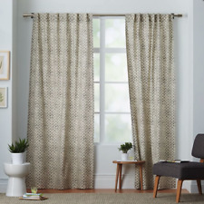 West Elm Mid century Mod Stamped Dot Curtains in Platinum, pair 48 x 84 inch