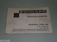 Ersatzteilliste Ersatzteilkatalog Zündapp Mofa Automatic Typen 444 Stand 08/1972